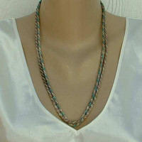 Korea 2 Metal Braided Chain Necklaces Pink Turquoise White Vintage Jewelry