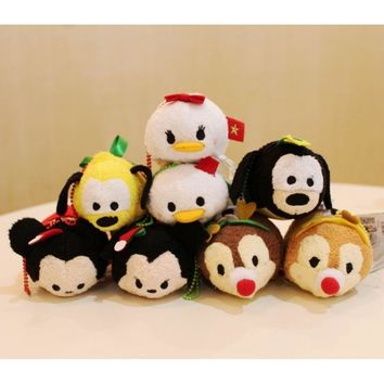 TSUM TSUM Christmas Mickey Minnie Mouse Chip Dale Pluto Goofy Daisy Donald Mini Plush Toy Kids Girl Birthday Gift Phone Creamer