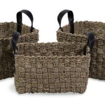 3 Storage Baskets - Seagrass Weave