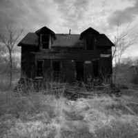 Eerie Infrared Black & White Photography - The Neighbors - burned house dark haunted 10x15