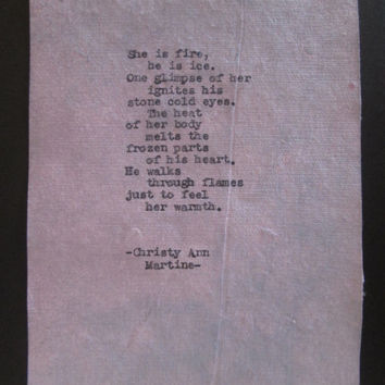 Cotton Gifts for Wedding Anniversary Love Poems Quotes Poetry Art 1930s Vintage Home Typed on Purple Cotton Paper by Poet Sexy Romantic Gift