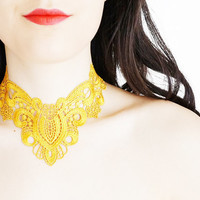 Quaisia // Handmade Yellow Mustard Crochet Lace Collar Necklace Applique Blouse Accessories Choker Bib Necklace
