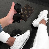 NIKE AIR MAX 97 Pure white bullet 3M reflective running shoes