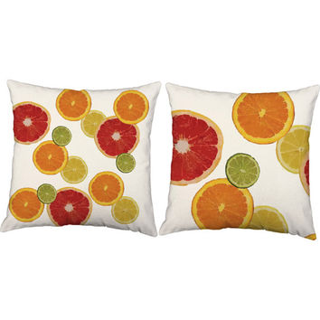 Set of 2 Summer Citrus Pillows - Citrus Print Pillow Covers with or without Cushion Inserts - Lime Print, Summer Decor, Orange Pillow, Beach