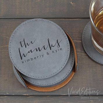 Personalized Round Leather Coaster Set of 6 - Gray CB01