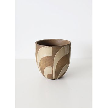 """Cream and Tan Painted Terra Cotta Planter Pot - 6"""" Tall"""