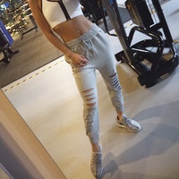 Casual Ripped Holes Pants Yoga Gym Jogging Sportswear [10161921543]