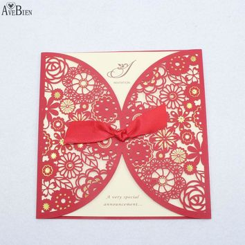 1pcs Romantic Laser Cut Lace Flower Invitations Cards Wedding