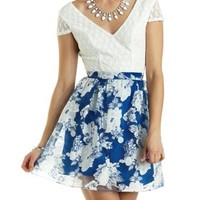 Lace & Floral Organza Skater Dress by Charlotte Russe - Blue Combo