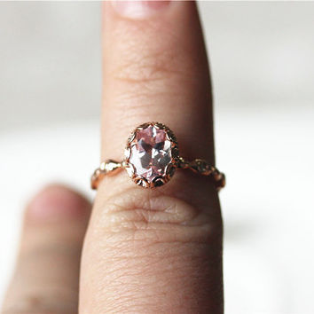 Halo Oval 14K Rose Gold Pink Morganite Ring with 0.031ct Diamond Wedding Ring /Engagement Ring/ Promise  Ring/ Anniversary Ring/Stackable