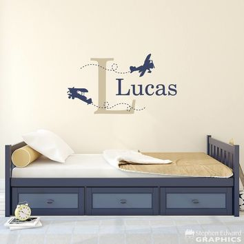 Biplane Decal - Boy Bedroom Decor - Airplane Decal with Initial and Name - Personalized Boy Decal - Large