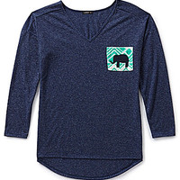 Moa Moa V-Neck Elephant-Pocket Top - Navy