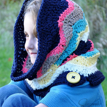 Chevron Hooded Cowl Crochet Pattern pdf (Scoodie)