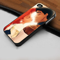 Disney Ariel Mermaid Kissing - Hard Case Print for iPhone 4 / 4s case - iPhone 5 case - Black or White (Option Please)