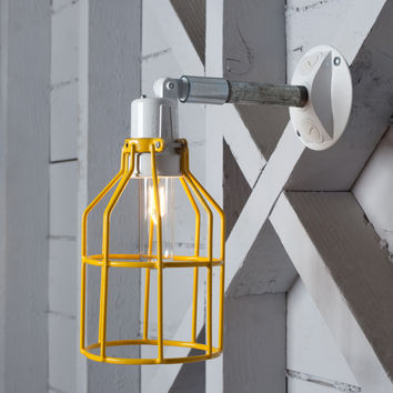 Yellow Cage Light - Exterior Wall Mount Sconce