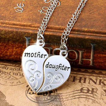 New and fashion 2 Pcs Set Silver Mom Mother & Daughter Love Heart Pendant Charm Chain Necklace AIXZ