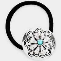 Concho Hair Band with Turquoise Stone