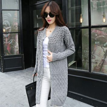 Kenancy Spring Autumn Women Open Stitch Sweaters Pearl Beading Twist Long Sleeves Cardigans Gray Color Knitted Jumper Femme 2018