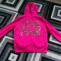NWT Victoria's Secret PINK Medium Sweatshirt Fur Sequin Cheetah NEW SOLD OUT!!