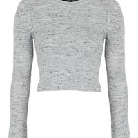 Fluted Sleeve Crop Top - Grey