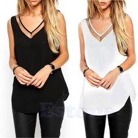 Women Summer Tank T-Shirt Casual V-Neck Vest Loose Chiffon Sleeveless Top Blouse-448E