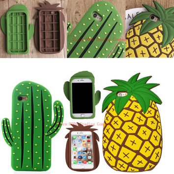 2016 New HOT Funny 3D Cute Cartoon Cool Fruit Cactus Pineapple Soft Rubber Silcion Case For iPhone 7 5 5S SE iPhone 6 6S Plus