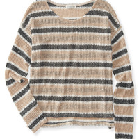 Aeropostale  Long Sleeve Striped Open-Knit Top