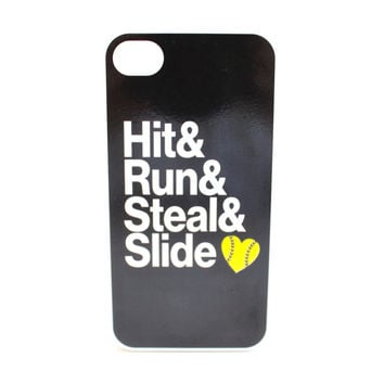 Hit, Run, Steal & Slide Softball Phone Case