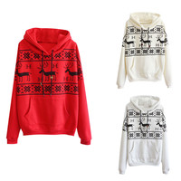Red Geometric Printed Deer Long Sleeve Sweatshirt