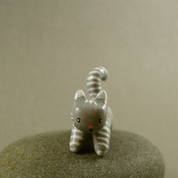 Motion Kitty In Grey And White Stripes  by MadeWithClayAndLove