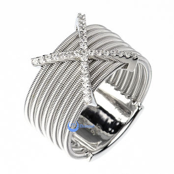 Contemporary Modern Spiral Cocktail Fashion X Ring CHRISTA Sterling Silver w/Signity CZ