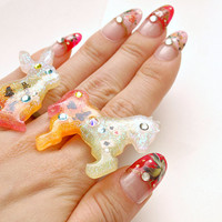 Resin ring, sweet lolita, Alice in wonderland, lolita accessory, bunny, pony, glittery, gradient, sparkle, gift for girlfriend, animal ring