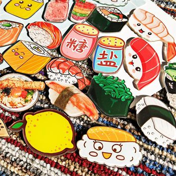 AHYONNIEX 1 PC Cartoon Foods Sushi snack hamburger bread Acrylic Badges Icons on The Backpack Pin Badge Decoration for Clothing