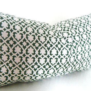Green Lumbar Pillow, Green and White throw pillow cover, Designer Fabric, emerald green, Green Pillows, Modern Rectangle Pillow
