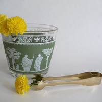 Mid-Century Greek Ice Bowl Green with Gold Trim and Tongs, Jeannette Glass Hellenic Jasperware, 1950's Vintage Barware