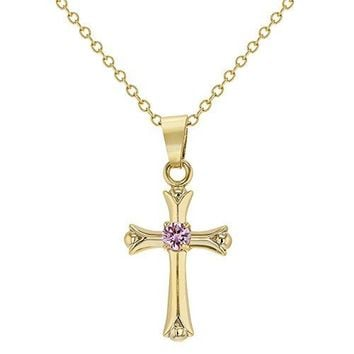 SHIP BY USPS: 18k Gold Plated Pink Crystal Small Cross Necklace for Girl Kids Pendant 16""