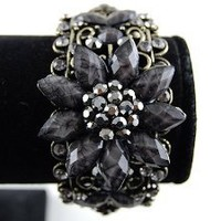 Smoke Black Gray Crystal Rhinestones Floral Vintage Inspire Cuff Bracelet Bangle: Jewelry: Amazon.com