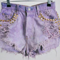 The Holy Shorts (bleached, distressed, studded, lavender)