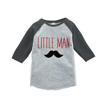 Boys Little Man Outfit - Mustache Grey Kid Raglan - Big Man Little Man - Happy Fathers Day Gift, Boys Onepiece or Shirt - Toddler, Youth