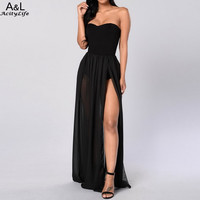 Sexy Women Club Dress Fashion Off Shoulder Empire Waist Chiffon Side Split Maxi Long Dress