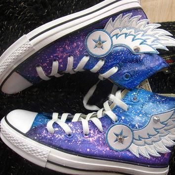 Hand painted shoes converse galaxy, Flying wings (2 version)