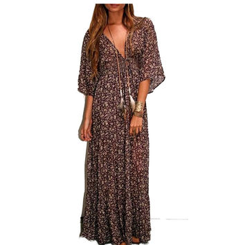 Ethnic Vintage Hippie Boho Maxi Dress Women Beachwear Retro Floral Plunging Deep V-Neck Long Chiffon Dress Plus Size Clothing 20