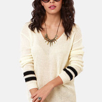 Cuff Luck Ivory and Black Striped Sweater