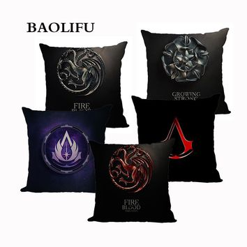 BAOLIFU Game of Thrones Linen  Cushion Cover Chair Seat Decorative Pillowcase 45x45cm  Pillow Cover Home Living Textile A109