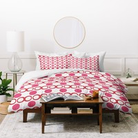 Lisa Argyropoulos Retrocity In Cranberry Duvet Cover