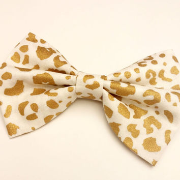 Gold Leopard Bow • Gold Metallic Bow • Leopard Print Bow • Christmas Gifts • Women's Fashion • Gifts For Girls • Novelty Hair Bow • Handmade
