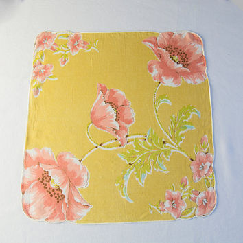 Vintage Handkerchief Hankie Yellow with Peach flowers Gorgeous Color!