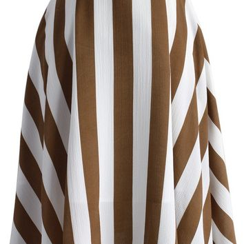 Swaying Chic A-line Skirt in Brown Stripes