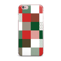 "Carolyn Greifeld ""Holiday Patchwork"" Red Green iPhone Case"