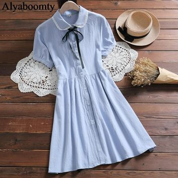 Japanese Preppy Style Summer Women Shirt Dress Peter Pan Collar Lace Ribbon Blue Pink Dress Cute Kawaii Cotton Elegant Vestidos